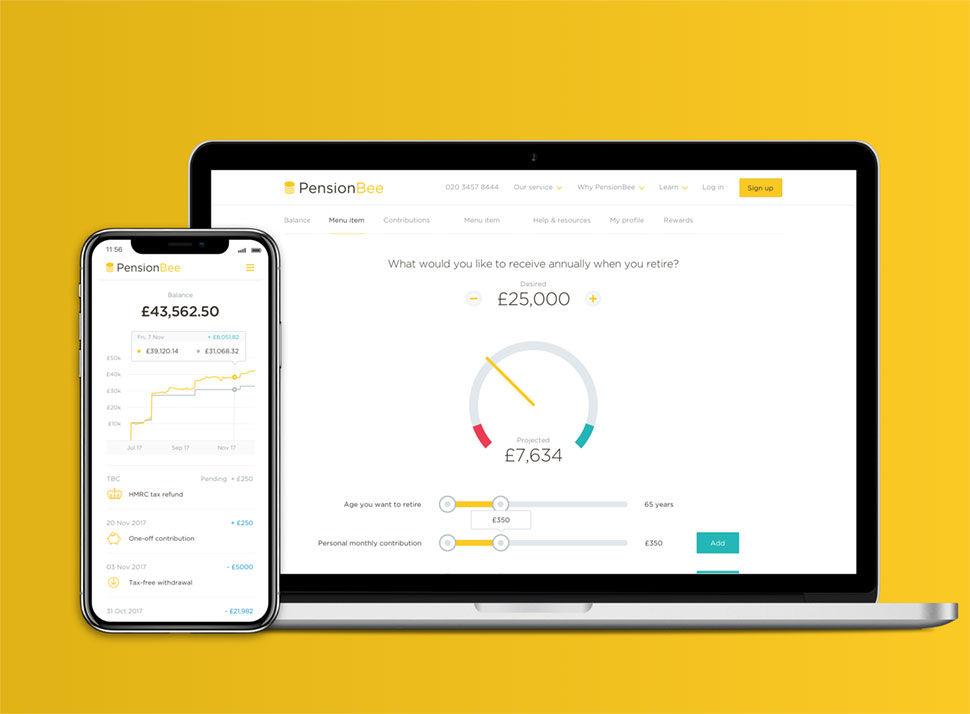 Example of the PensionBee mobile and desktop dashboards