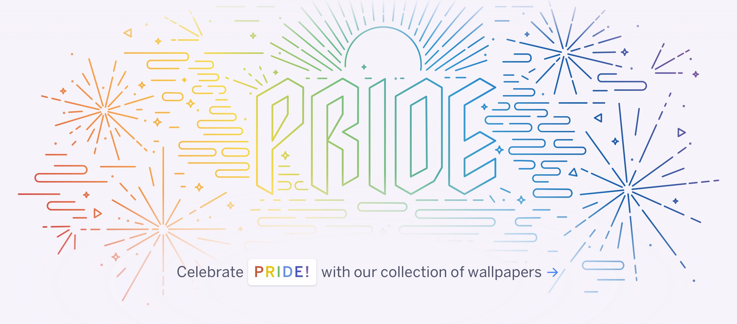 Fireworks and rainbow colors with the message, 'Celebrate pride with our collection of wallpapers'