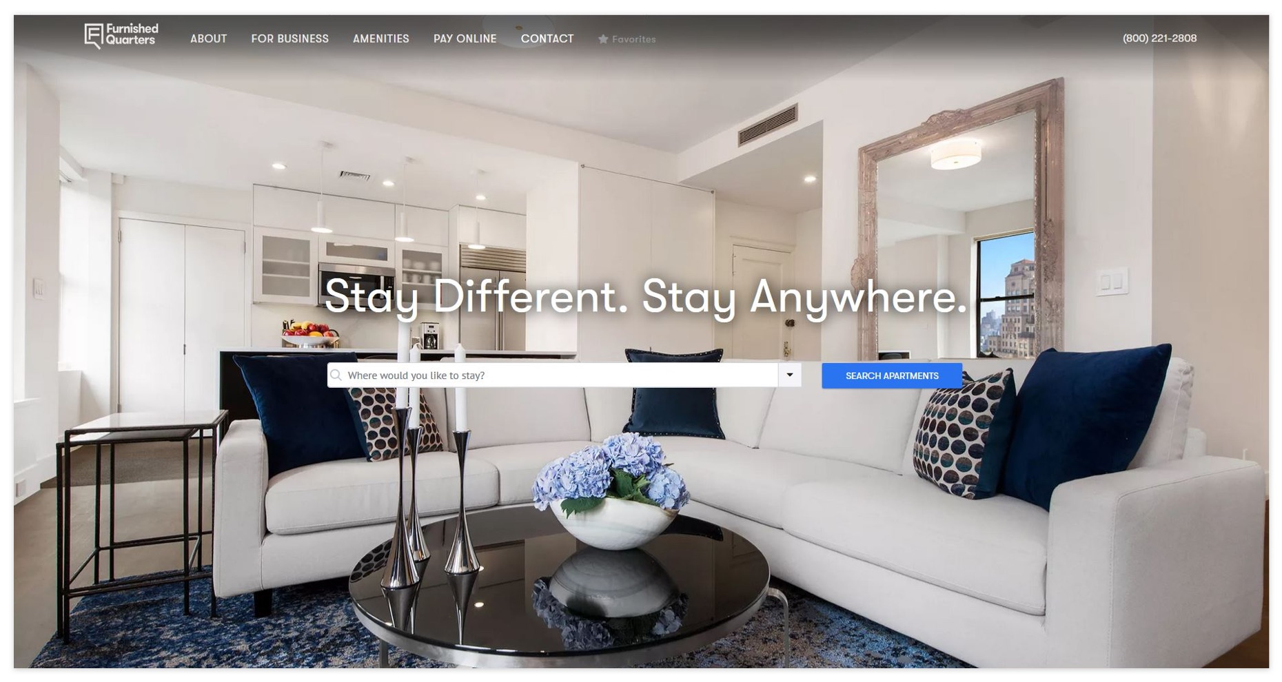 A screenshot of the Furnished Quarters homepage