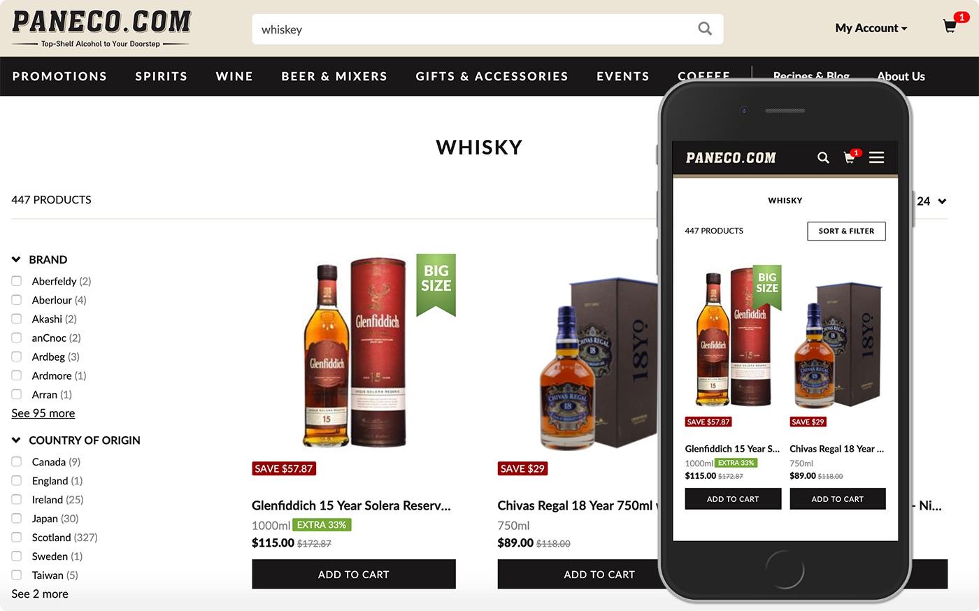 An example of a search for Whiskey