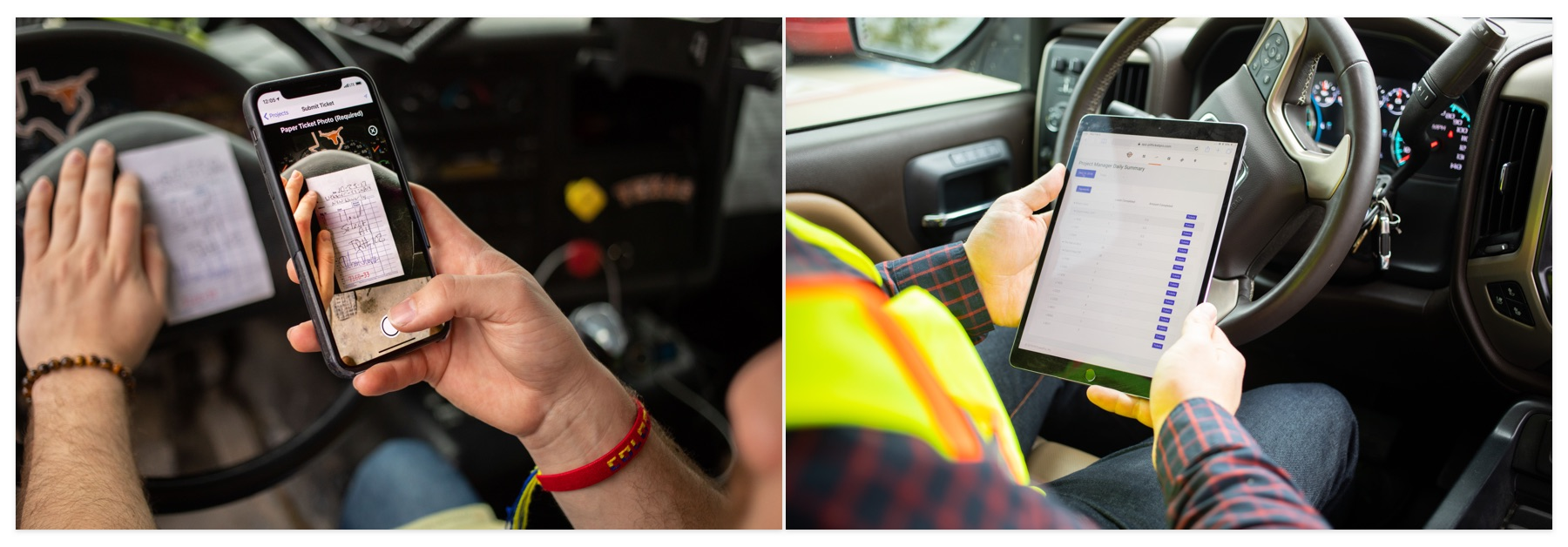 Two drivers using mobile devices while in vehicles