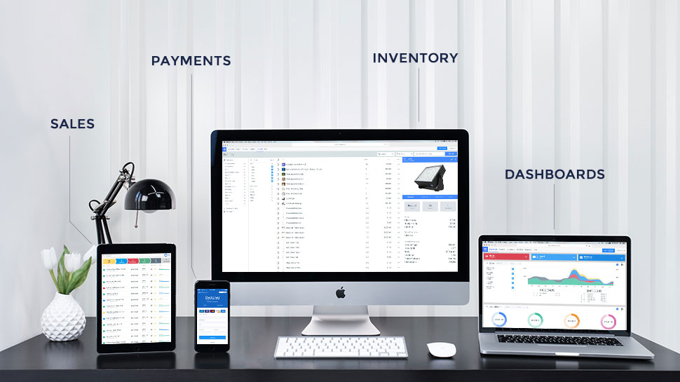 Goodshuffle running on a number of devices, covering sales, payments, inventory and dashboards