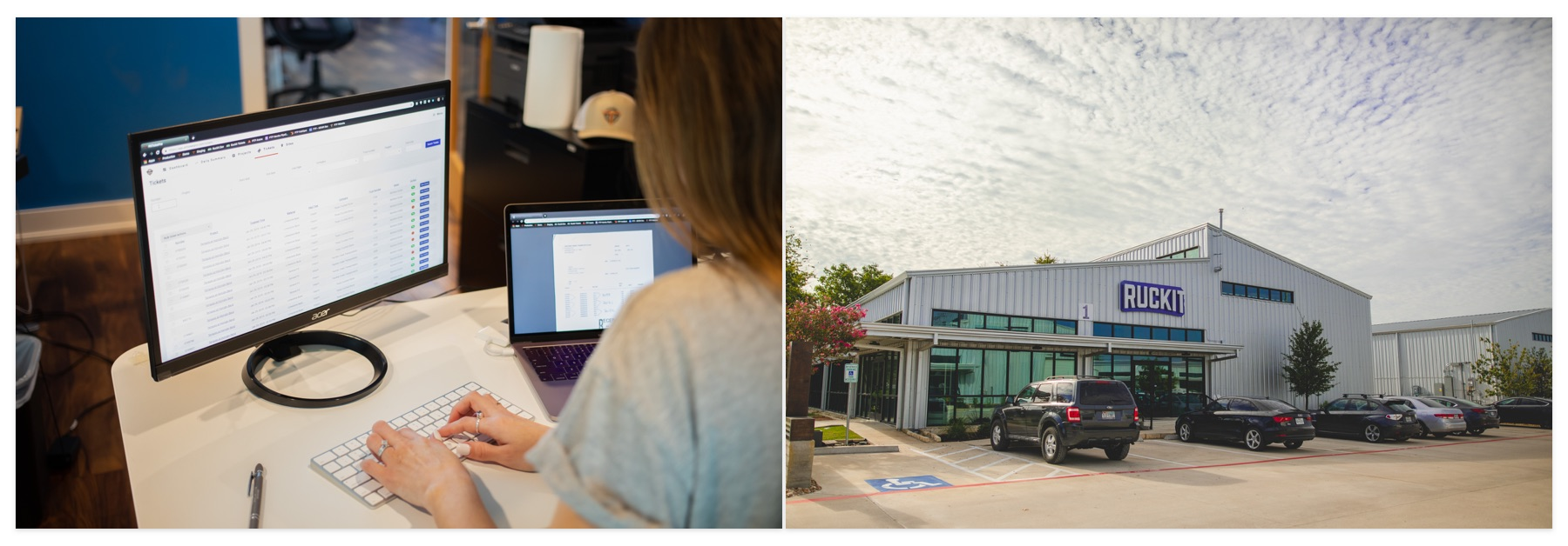 A woman using the Ruckit dashboard, and an outside shot of the Ruckit headquarters