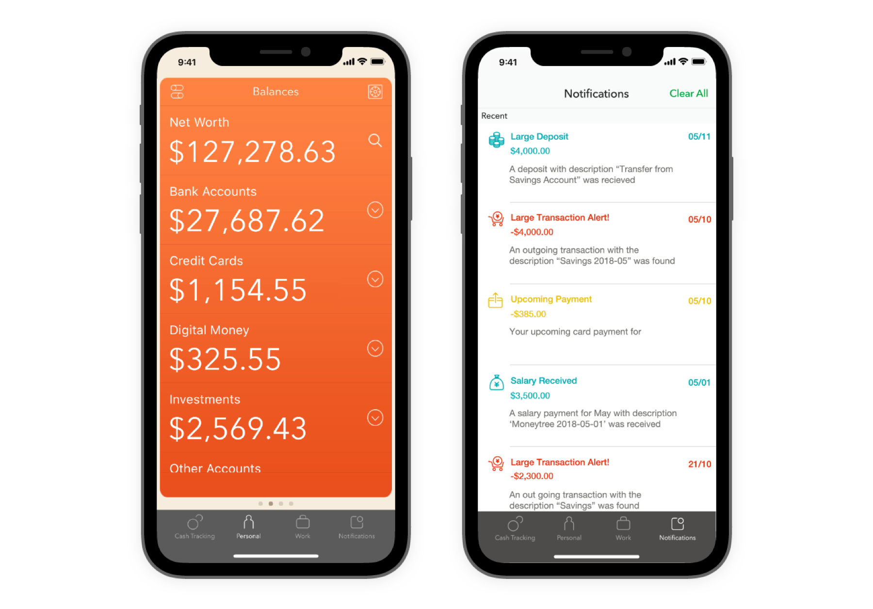 Views of the balances and notifications screens in the Moneytree app