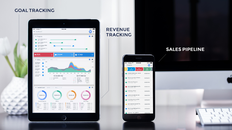Goodshuffle showing goal tracking, revenue tracking and sales pipeline on an iPad and iPhone