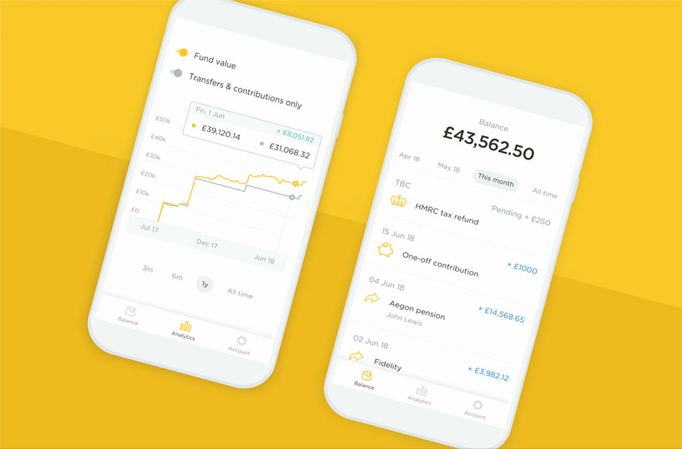 An example of PensionBee's mobile dashboard