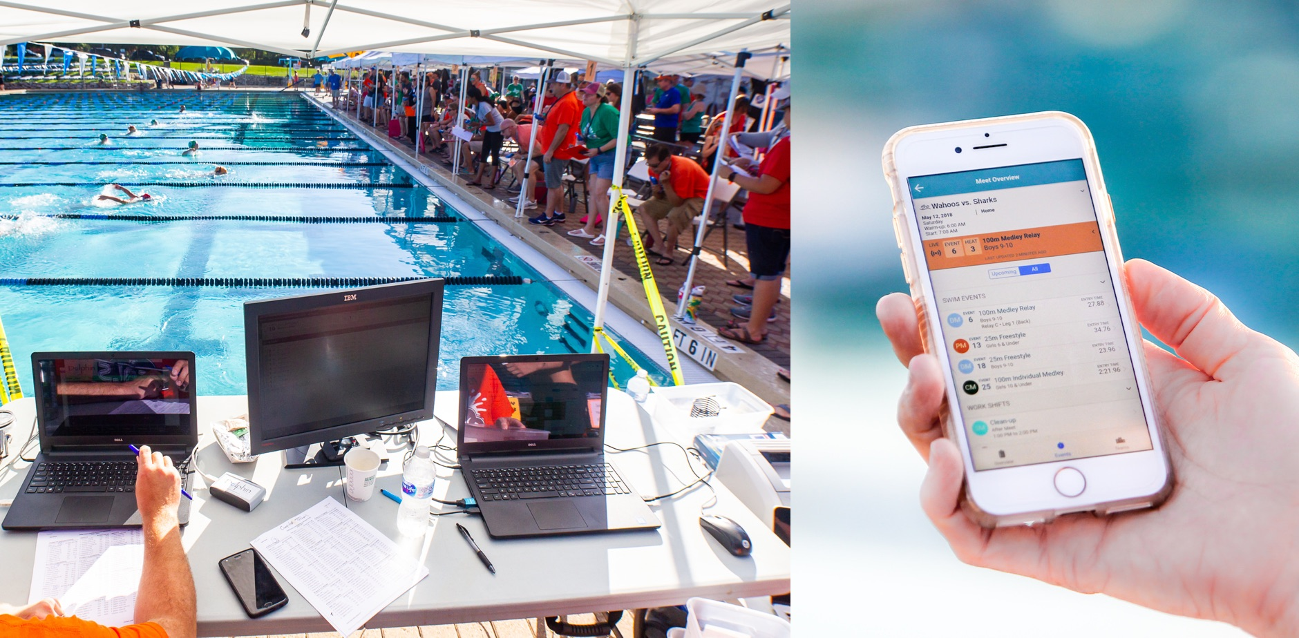 Two photos, of a swim meet with laptops, and a phone showing results from a swim meet